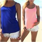 Summer Womens Sleeveless Vest Tops Beach Casual Sexy Halter T Shirts Size S-XL