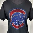 Women's Chicago Cubs  Cubbies Rhinestone baseball  Vneck T-Shirt Tee Bling Lady on Ebay