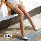 Women Glossy Oil Shiny Sheer Lace Top Thigh-Highs Silk Skinny Stockings Hold Ups