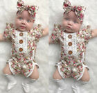 Fashion Newborn Kids Baby Girl Flower Romper Jumpsuit Sunsuit Outfits Clothes US