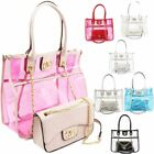 New Ladies 2in1 Transparent Bag Set Shopper Clutch Bag Handbag Modern Design