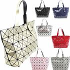 New Ladies Geometric Design Shopper Bag Handbag Glossy Casual Stylish