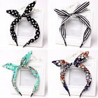 Women Girls Bow Hair Hoop Lovely Dot Stripe Floral Leopard Rabbit Ear Hairband