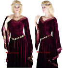 Medieval Lady Burgundy Game of Thrones Gown Dress Costume - S 8-10 / XL 18-20
