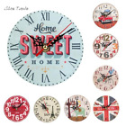 12cm Vintage Style Silent Antique Wall Clock Wood Battery Powered