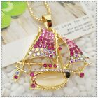Fashion Crystal Sailboat Pendant charm Sweater chain necklac EE1006