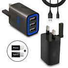 High Speed 2 Port 3 Port UK USB Portable Wall Charger Power Adapter with Cable