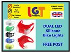 DUAL LED SILICONE BIKE BICYCLE CYCLE CAMPING BACKPACK SAFETY LIGHT FREE POST 3D
