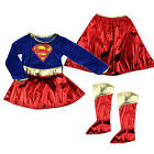 Superhero Kid Girls Supergirl Costume Fancy Dress Party Outfit Cover Book Day UK