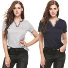 Women Casual V-Neck Short Sleeve Patchwork Pullover Basic T-Shirt DZ88