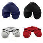 Drawstring Hooded U Shape Travel Neck Pillow Cushion for Car Airplane Office image