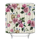 Watercolor Floral Pattern Rose Fabric Shower Curtain Liner Polyester Waterproof