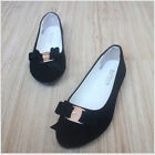 Bowknot Pointed Toe Pumps Slip On Loafers Casual Suede Women's Flat Shopes Ths01