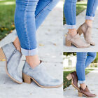 PU Leather Mid Heel Block Ankle Boots Women Casual Autumn Spring Shoes Plus Size