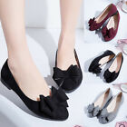 Women Casual Suede Bow Pointed Toe Shoes Slip on Comfort Loafers Fashion Flats