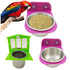 Stainless Steel Cage Stand Clamp Bolt Cup Birds Pet Food Water Bowl with Mirror
