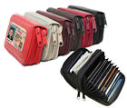 New Solid Genuine Leather Accordion Style Credit Card Holder Women's Wallet  image