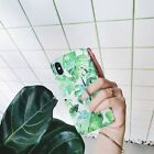 For iPhone X 6 7 8 Plus Summer Banana Leaf Stand Ring Matte Hard Phone Case