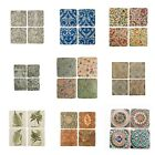 Set 4 French Shabby Chic Ceramic Tile Coasters Various Styles Free Postage