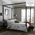 Catherine Lansfield Stag Tartan Reverse Easy Care Duvet Cover Bedding Set Silver