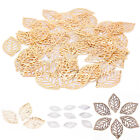 50X Charm Filigree Hollow Leaves Pendant Jewelry Making Leaves Metal Craft G0