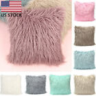 Soft Solid Fur Feather Pillow Case Square Sofa Cushion Cover Home Car Decor US