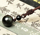 14/16/18mm Women Black Obsidian Crystal Stone Pendant Necklace Lucky Ball Decor