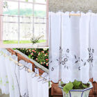 Embroidered Lace Half-Curtains Window Valance Room Privacy Tiers Panel