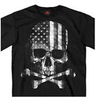 American Flag Overlay on Skull & Crossbones Black T Shirt