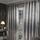 Glitter Crushed Velvet Fully Lined Ring Top Eyelet Curtains Silver Grey