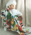 "Doll Clothes Baby Made 2 Fit American Gril 15"" Bitty Boy Bunting Blanket Beret'"