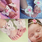 3x Newborn Baby Girls Butterfly Headband Headdress Foot Flower Photo Prop JR
