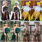 Fashion Kids Baby Girls Lace Off Shoulder Crop Tops Skirt Shorts Set Clothes US