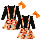 USA Cute Kids Baby Girls Halloween Dress Black Tops Pumpkin Skirt Outfits Set