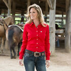 Cinch Solid Red Button Up Blouse