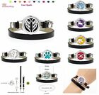 25mm Aromatherapy Essential Oil Bracelet Leather Wrap Locket Diffuser 10pad
