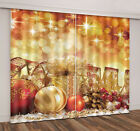 Hot 3D Printing XMAS Gift Gold Light Spot Window Curtains Blockout Drapes Fabric