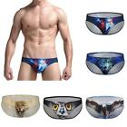 Mens Thong G String Underpants Underwear 3D animal printed Y front-Pouch-Brief