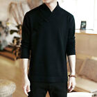 Mens Solid Color Long Sleeves Stand Collar Loose Fashion Knitted Sweater B854