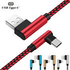 US USB Cable For iPhone 5 6 7 8 Plus X Braided 90 Degree Lightning Micro Charger