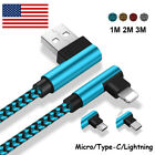 US USB Cable For iPhone 5 6 7 8 Extra X Braided 90 Degree Lightning Micro Charger