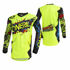 O'Neal Mens Neon Yellow Element Villain Dirt Bike Jersey MX ATV 2019