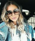XXL OVERSIZED 'Myrte' Women Sunglasses SQUARE Gold Metal Edges Shadz GAFAS