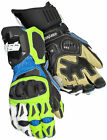 Cortech Mens Blue/Hi-Viz Yellow Adrenaline 3.0 RR Leather Motorcycle Gloves