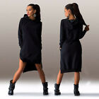 Damen Kapuze Pullover Pullikleid Sweatshirt Hoodie Jumper Minikleid Winter Warm