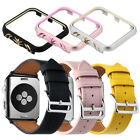 Genuine Leather Wristwatch Straps Bands Metal Case Cover for Apple Watch iWatch image