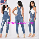US Fashion Women Straps Jumpsuit Denim Jeans Bib Pants Overa