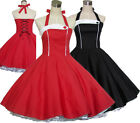 Women Dress Vintage 50s Rockabilly Pinup Casual Swing Party Ball Gown Red Black