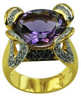 6.23 Ct. Amethyst Ring With 0.44 Ct. Blue Sapphire 925 Silver Fashion Jewelry