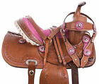 Pony Leather Western Saddle Youth Child Kids Trail Barrel Show Pink Tooled Tack